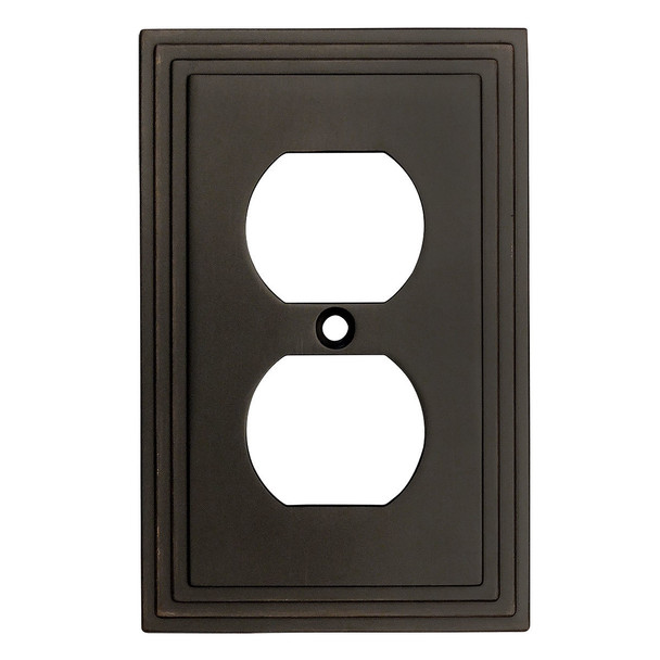 Cosmas 25026-ORB Oil Rubbed Bronze Single Duplex Outlet Wall Plate
