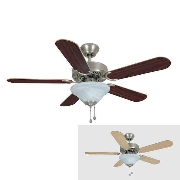 """Satin Nickel 42"""" Ceiling Fan w/ Light Kit : 5630"""
