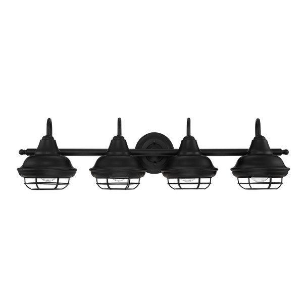 Designers Impressions Charleston Series Matte Black 4 Light Wall Sconce / Bathroom Fixture: 10014