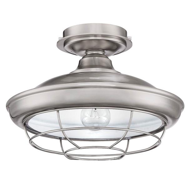 Designers Impressions Charleston Satin Nickel Semi-Flush Mount Ceiling Light Fixture : 10003