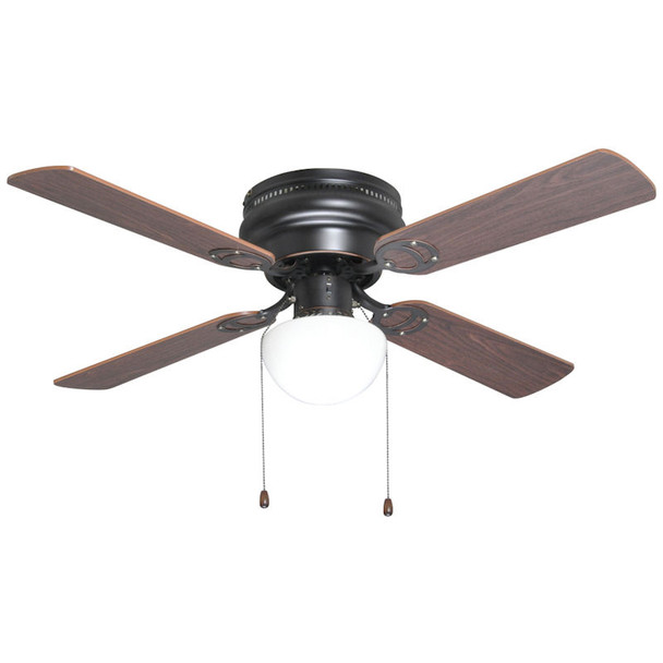 "Classic Bronze 42"" Hugger Ceiling Fan w/ Light Kit : 23-7932"