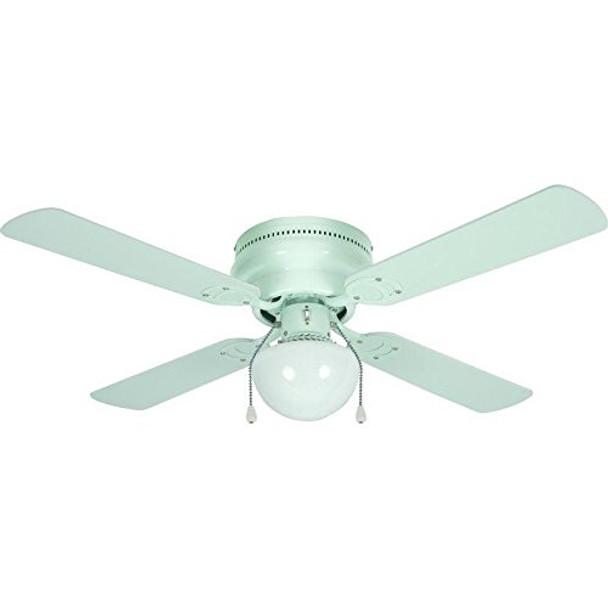 "White 42"" Hugger Ceiling Fan w/ Light Kit : 23-8014"