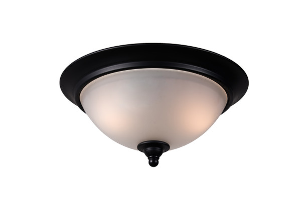 Designers Impressions Countryside Matte Black Flush Mount Ceiling Light Fixture : 10021