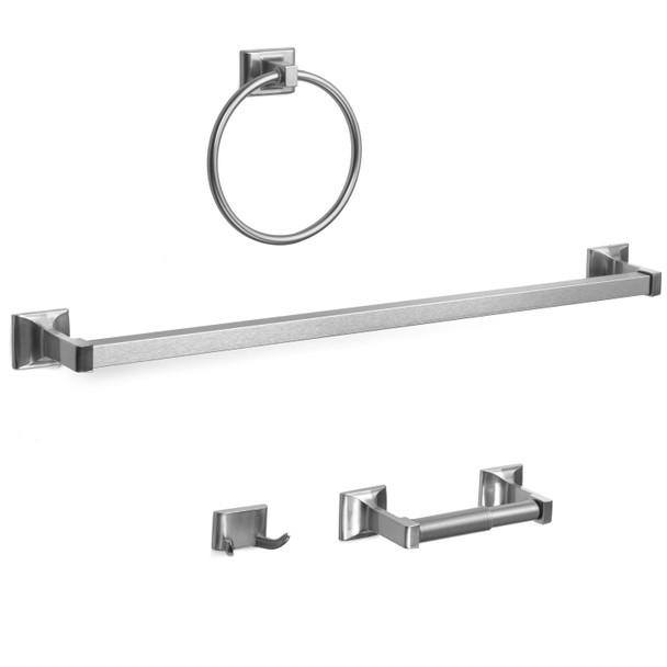 Designers Impressions Eclipse Series 4 Piece Satin Nickel Bathroom Hardware Set: MBA6200-4