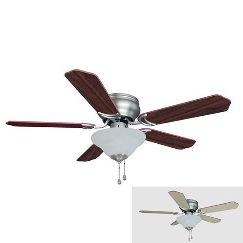 "Satin Nickel 42"" Hugger Ceiling Fan W/ Light Kit : 1302"