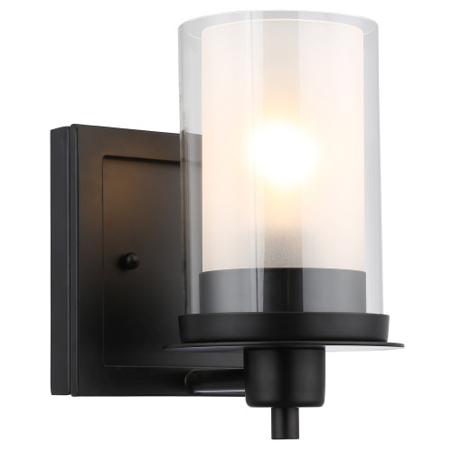 Juno Matte Black 1 Light Wall Sconce Bathroom Fixture