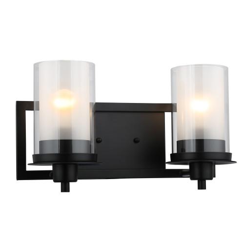 Discount Bathroom Lights: Juno Matte Black 2 Light Wall Sconce / Bathroom Fixture
