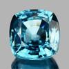 8.50 mm {3.26 cts} Cushion Fire Natural Blue Zircon {Flawless-VVS1}