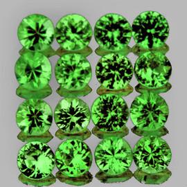 1.50 mm 50 pcs Round Diamond Cut AAA Fire Chrome Green Tsavorite Garnet Natural {VVS}