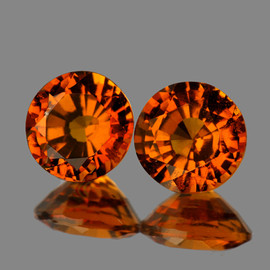 5.30 mm 2 pcs Round AAA Fire AAA Mandarin Orange Spessartite Garnet Natural {Flawless-VVS}