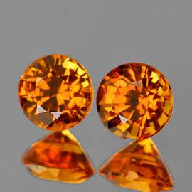 4.30 mm 2 pcs Round AAA Fire Mandarin Orange Spessartite Garnet Natural {VVS}