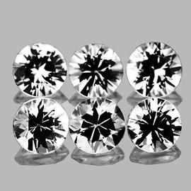 3.40 mm 6 pcs Round Brilliant Cut White Sapphire Natural {Flawless-VVS1}