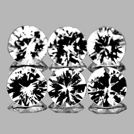 3.30 mm 6 pcs Round Brilliant Cut White Sapphire Natural {Flawless-VVS1}--AAA Grade
