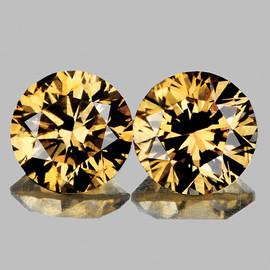 2.20 mm 2 pcs Round Diamond Cut AAA Vivid Golden Champagne Diamond Natural {VVS CLARITY} AAA Grade