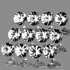 2.50 mm 12 pcs Round Brilliant Cut AAA Fire Natural White Sapphire {Flawless-VVS1}