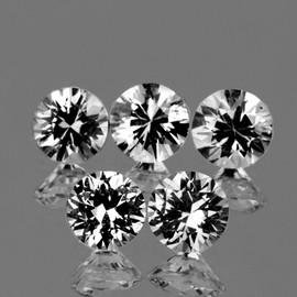 3.70 mm 5 pcs Round Brilliant Cut White Sapphire Natural {Flawless-VVS1}