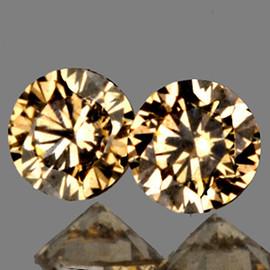 2.00 mm 2 pcs Round Diamond Cut AAA Vivid Golden Champagne Diamond Natural {VVS CLARITY} AAA Grade