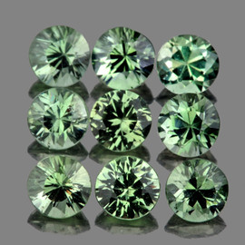 2.80 mm 9 pcs Round Diamond Cut Green Sapphire Natural {Flawless-VVS1}