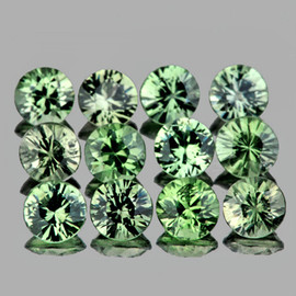 2.70 mm 12 pcs Round Diamond Cut  AAA Green Sapphire Natural {Flawless-VVS1}