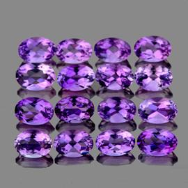 6x4 mm 16 pcs Oval Top Pinkish Purple Amethyst Natural {Flawless-VVS1}