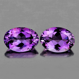 8x6 mm 2 pcs Oval AAA Purple Amethyst Natural {Flawless-VVS1}
