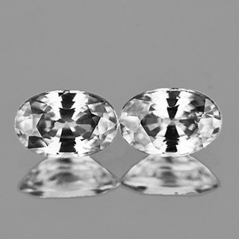 7x5 mm 2 pcs Oval AAA White Zircon (UNHEATED) Natural {Flawless-VVS1}