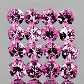 2.50 mm 16 pcs Round Machine Cut AAA Pink Spinel Mogok Natural {Flawless-VVS1}