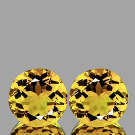 10.00 mm 2 pcs Round AAA Fire Golden Yellow Citrine Natural {Flawless-VVS1}