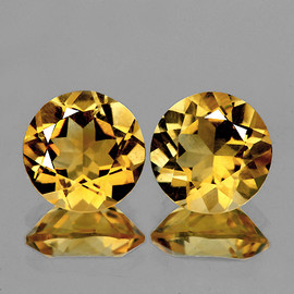 9.00 mm 2 pcs Round AAA Fire Golden Yellow Citrine Natural (Flawless-VVS1}