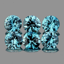 4.00 mm 6 pcs Round Brilliant Cut Best AAA Fire Top Blue Zircon Natural {Flawless-VVS1}