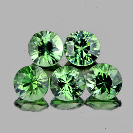 3.30 mm 5 pcs Round Diamond Cut AAA Green Sapphire Natural {Flawless-VVS1}
