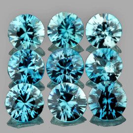 3.70 mm 9 pcs Round Brilliant Cut Best AAA Fire Top Blue Zircon Natural {Flawless-VVS1}
