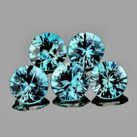 4.30 mm 5 pcs Round Diamond Cut Best AAA Fire Top Blue Zircon Natural {Flawless-VVS1}