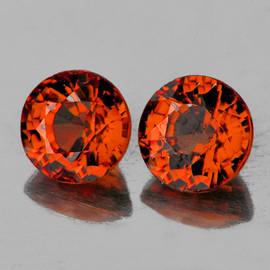 4.80 mm 2 pcs Round Best AAA Fire Intense AAA Orange Tourmaline Mozambique Natural {Flawless-VVS1} --AAA Grade