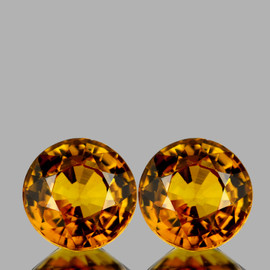 4.30 mm 2pcs {0.63 cts} Round AAA Golden Yellow Tourmaline Mozambique Natural {Flawless-VVS1}