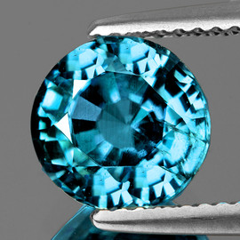 6.50 mm Round {1.88 cts} AAA Electric Blue Zircon Natural{Flawless-VVS1}