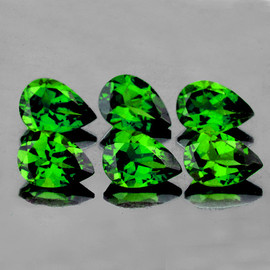 4x3 mm 6 pcs Pear  AAA Chrome Green Diopside Natural  {Flawless-VVS1}