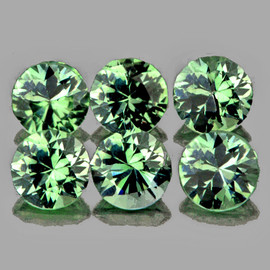 3.20 mm 6 pcs Round Diamond Cut AAA Green Sapphire Natural {Flawless-VVS1}