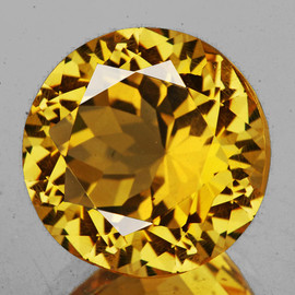 17.00 mm {15.13 cts} Round Best AAA Fire AAA Golden Yellow Citrine Natural (Flawless-VVS1}