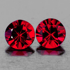 3.50 mm 2 pcs Round AAA Fire Red Spinel Mogok Natural {Flawless-VVS1}