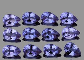 5x3 mm 12 pcs Pear Bright Bluish Violet Iolite Natural {Flawless-VVS1}