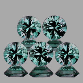 3.50 mm 5 pcs Round Diamond Cut Mozambique Blue Green Sapphire Natural {Flawless-VVS1}--Unheated