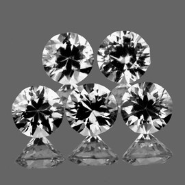 3.50 mm 5 pcs Round Brilliant Cut AAA Fire White Sapphire Natural {Flawless-VVS1}