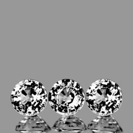 3.30 mm 3 pcs Round White Sapphire Natural {Flawless-VVS1}
