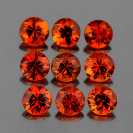 2.80 mm 9 pcs Round Diamond Cut Intense AAA Mandarin Orange Spessartite Garnet Natural  {Flawless-VVS1}
