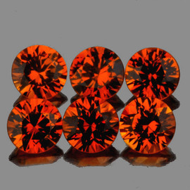 3.30 mm 6 pcs Round Diamond Cut Intense AAA Mandarin Orange Spessartite Garnet Natural  {Flawless-VVS1}