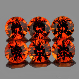 3.50 mm 6 pcs Round Diamond Cut Intense AAA Mandarin Orange Spessartite Garnet Natural  {Flawless-VVS1}