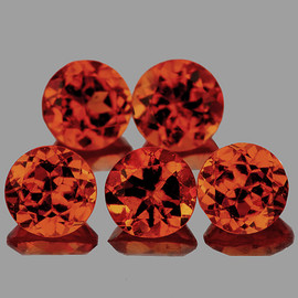 3.80 mm 5 pcs Round Mandarin Orange Spessartite Garnet Natural {VVS}