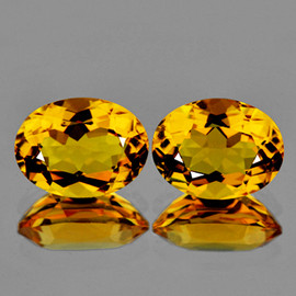9x7 mm 2 pcs Oval  Best AAA Golden Yellow Citrine Natural {Flawless-VVS1}