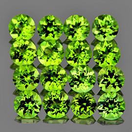 4.00 mm 16 pcs Round AAA Green Peridot Natural {Flawless-VVS1}